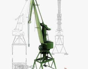 Port gantry crane 4 low poly 3D asset