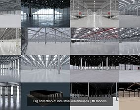 3D Big collection of industrial warehouses