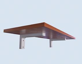 Wooden Shelf with Walnut Oak Cherry 4K PBR 3D asset 1