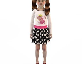 doll turtleneck Girl dress t shirt skirt Baby clothes 3D