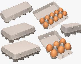 3D model egg cardboard paper packages mock-up