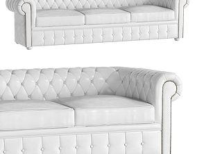 White Classical Sofa 3 Places Churchill 3D