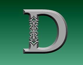 letter D 3D print model alphabet