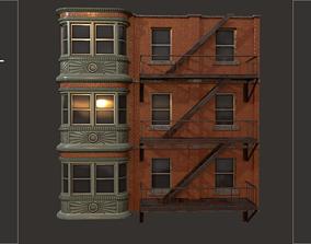 3D asset Fire Escape Ladder With Wall