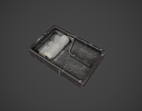 Paint Roller and Tray - White Paint 3D asset