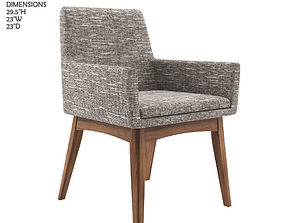 3D Chanel volcanic gray dining armchair