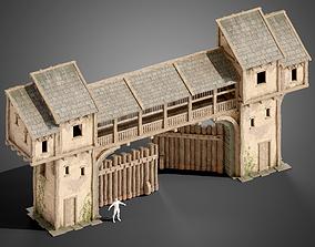 Medieval wall gate 3D asset