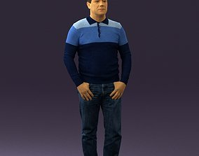 Man in blue colored polo 0551 3D Print Ready