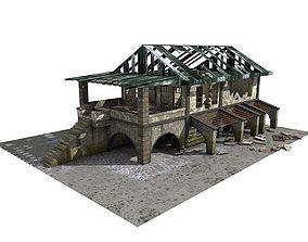 3D asset Lowpoly Abandoned Building 1b