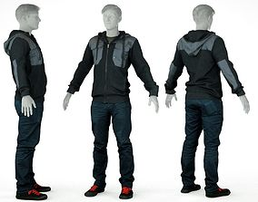 Male Casual Outfit 22 Top Trousers Shoes 3D model