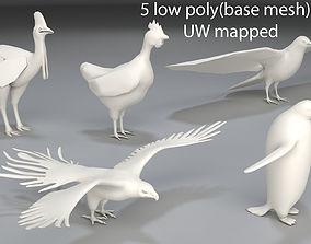 Birds - 5 pieces-low poly-part 1 3D model