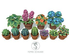 3D model Low-Poly Stylized Flower Pot Plants Pack