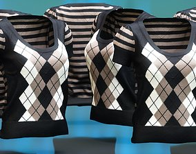 Squares Lines Open Neck Pull Top 3D asset