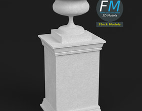 Garden stone urn vase on pedestal 3D model