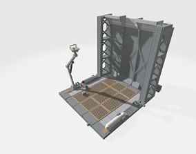 3D print model -MHB02F- Mecha Hangar Bay Base and Wall 2