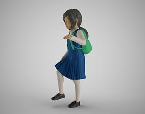 Little School Girl Climbing Steps 2 3D print model