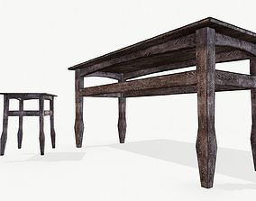 3D asset Old wooden tables and chairs