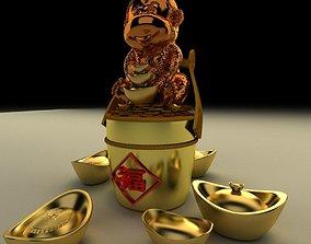 3D model realtime Chinese Gold Ingot