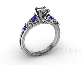 Ring Engagment Ring Saphire 3D print model