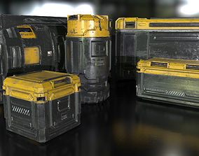 3D model Sci-Fi Industrial Crate Collection Game Ready PBR