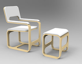 Wooden armchair and footstool stool 3D