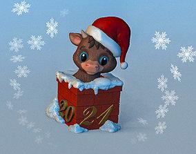 3D printable model Calf in Chimney Christmas souvenir