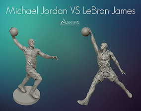 Michael Jordan and LeBron James sculptures 3D model