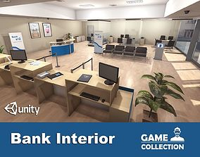 3D model animated Bank Interior