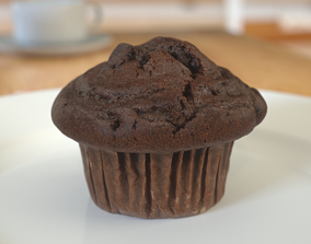 3D model Muffin Dark chocolate photoscan