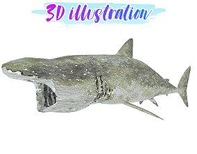 Low Poly Basking Shark Illustration Animated - 3D model 1