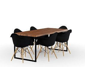 Rustic Table and Black Eames Chair 3D