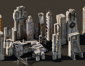 futuristic Futuristic city buildings 3D model