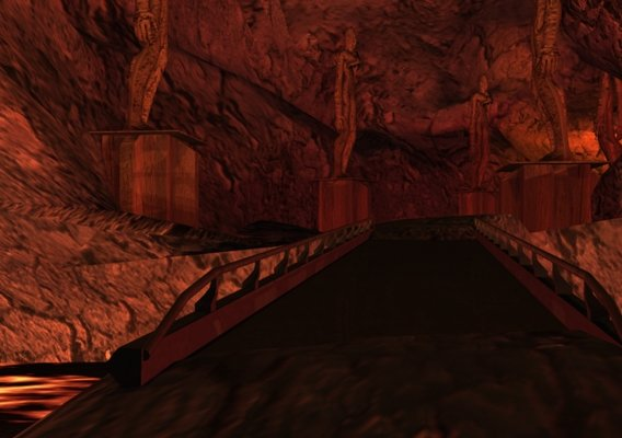Bridge in lava cave on lava planet