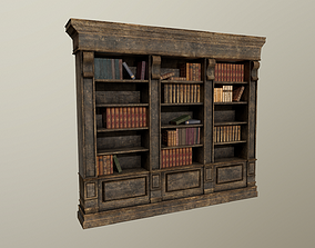 Old aged bookshelf with books 3D asset