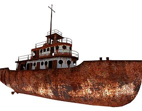 Old Abandoned Rusted Ship 3D asset