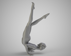Woman in Yoga Handstand female 3D print model