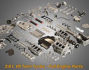 Twin Turbo V6 Engine Parts 3D model
