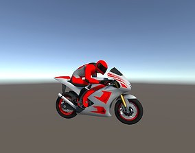 Low Poly Racing Bike With Rider-5 3D model