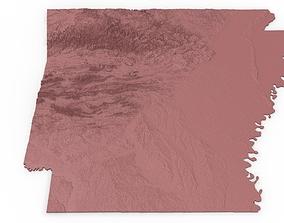 Arkansas Relief Map 3D print model