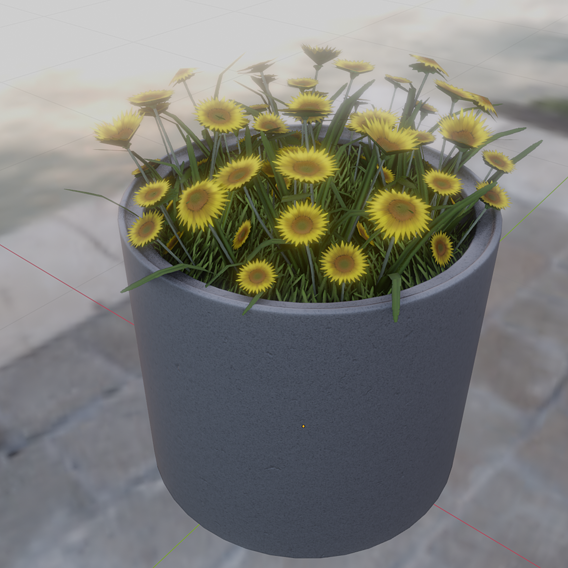 Concrete Pipe Pot 800mm with Small Sunflowers Flower Version 2 (Blender-2.91 Eevee)