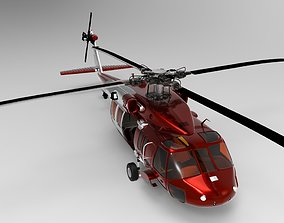Red Helicopter 3D asset