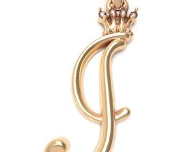 Alphabet Initial pendant letter J 3D printable model