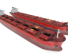 Bulk carrier Red 3D boat