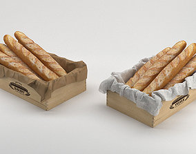 Breadroll Basket baguette breadbox 3D model