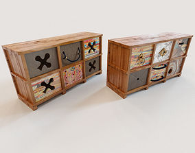 2 Ethnic chests of drawers 3D model