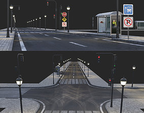 Road and busstop 3D model