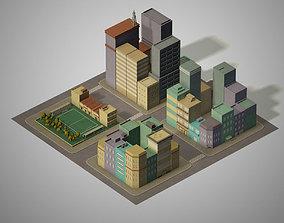 3D model Lowpoly pack of 4 blocks