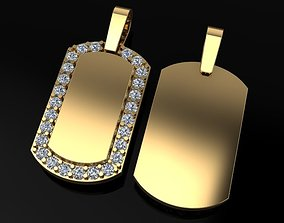 3D printable model Dainty Diamond Dogtag ID Bar Pendant