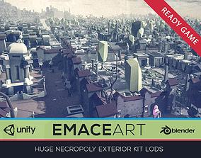 NECROPOLY Graveyard Exterior Kit LODs Low-poly 3D asset