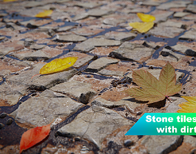 3D Seamless stone tiles with dirt